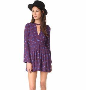 Free people tegan choker purple mini dress